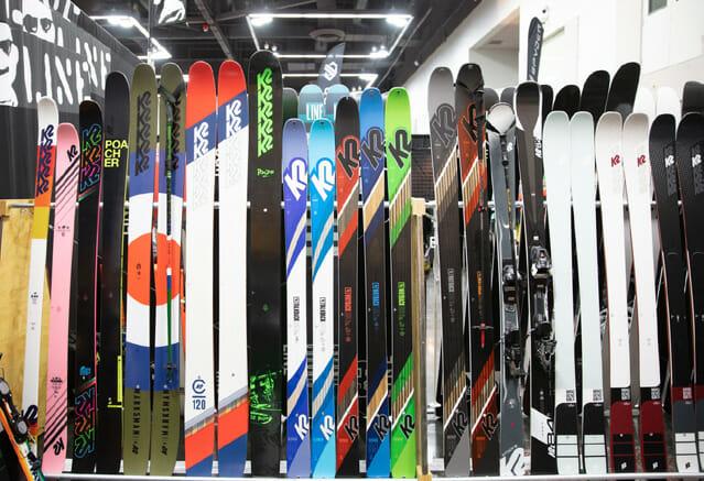 Ski display at ski shop.